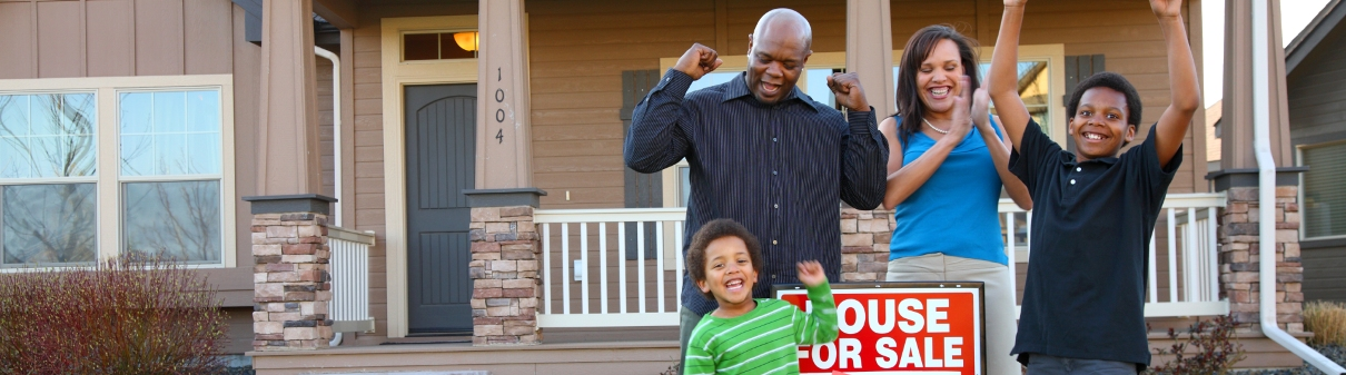 Mortgage lending-family celebrating house sold